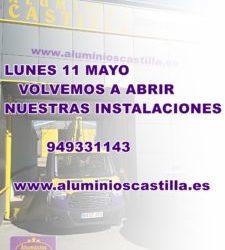 A partir del día 11 de Mayo en Aluminios Castilla volvemos a abrir las puertas de nuestras instalaciones